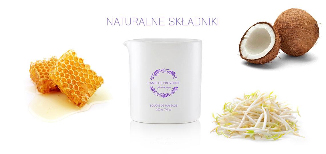 Naturalne składniki w świecach do masażu L'amie de Provence
